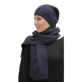 Superfine Hand Knitted Alpaca Wool Beanie Hat & Scarf Navy Blue