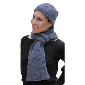Superfine Hand Knitted Alpaca Wool Beanie Hat & Scarf Steel Blue