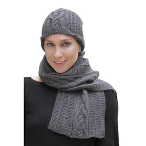 Superfine Hand Knitted Alpaca Wool Beanie Hat & Scarf Charcoal Gray