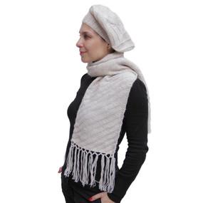Superfine Hand Knitted Alpaca Wool Beret & Scarf Beige