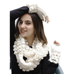 Superfine Alpaca Wool Handknitted Infinity Scarf & Gloves Ivory