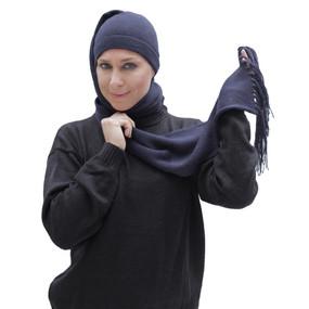 Superfine Alpaca Wool Chullo Beanie Hat & Scarf One Piece One Size Navy Blue