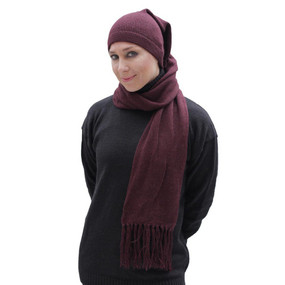 Superfine Alpaca Wool Chullo Beanie Hat & Scarf One Piece One Size Dark Burgundy