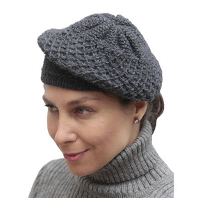 Alpaca Wool Knitted Beret Gray One SZ