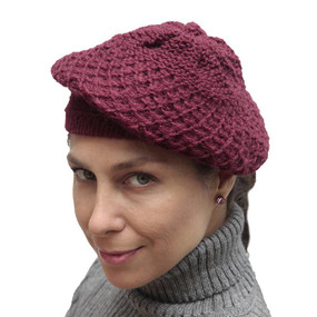 Alpaca Wool Knitted Beret Wine Burgundy One SZ