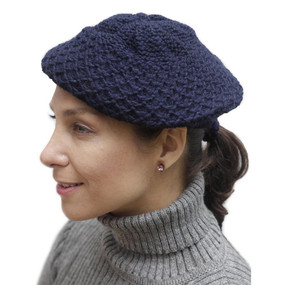 Alpaca Wool Knitted Beret Navy Blue One SZ