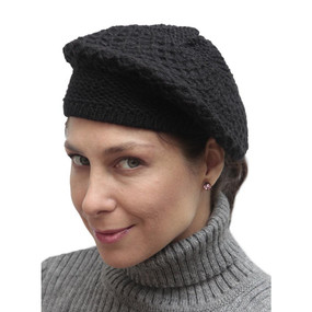 Alpaca Wool Knitted Beret Black One SZ