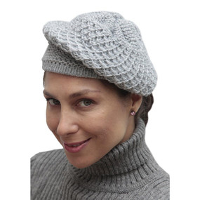 Alpaca Wool Knitted Beret Silver Gray One SZ