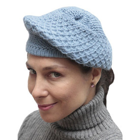 Alpaca Wool Knitted Beret Soft Blue One SZ