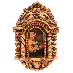 "St Francis Of Assisi Cuzco School Art Handcarved Gilt Retablo 11"" x 6.5"""