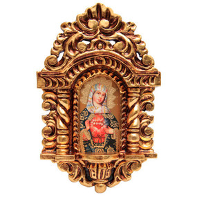 "Sacred Heart of Mary Cuzco School Art Handcarved Gilt Retablo 11"" x 6.5"""