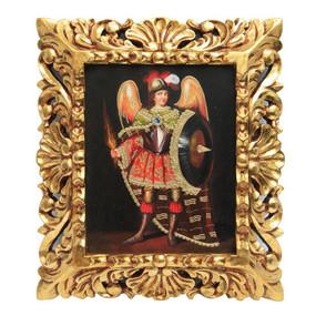"Archangel St Michael Original Art Framed Oil Painting 15""x 13"""