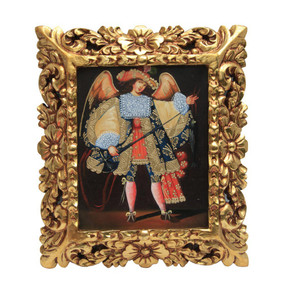 "Archangel St Raphael Original Art Framed Oil Painting 15""x 13"""