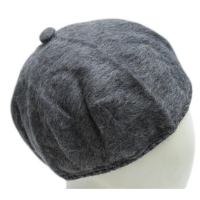 Alpaca Wool Beret Hat w/Crochet Edge Gray One Size
