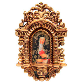 """Lady of Sorrows Cuzco School Art Handcarved Gilt Retablo 11"""" x 6.5"""""""
