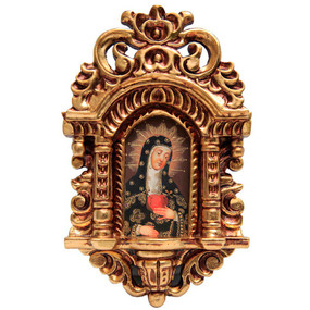 "Lady of Sorrows Cuzco School Art Handcarved Gilt Retablo 11"" x 6.5"""