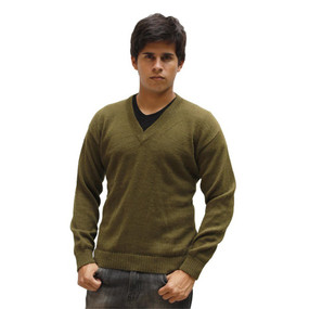 Mens Superfine Alpaca Wool Vneck Sweater SZ M Leaf Green