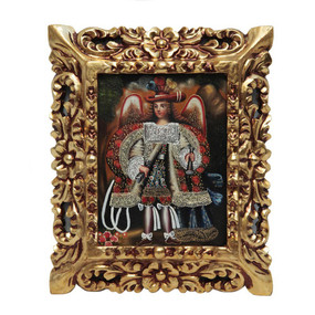 "Military Archangel Cuzco Framed Oil Painting On Canvas 12""x 10"""