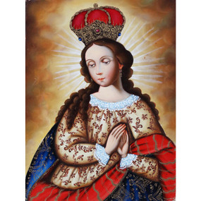 "Divine Madonna Cuzco Oil Painting On Canvas by Sequeiros  16""H x 12"""