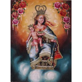 "Mt Carmel Lady Virgen del Carmen Cuzco Oil Painting On Canvas 16""H  x 12""W"