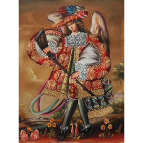 "Military Archangel Cuzco School Oil Painting On Canvas  16""H x 12""W"