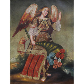 "Archangel Gabriel Cuzco School Oil Painting On Canvas  16""x 12"""