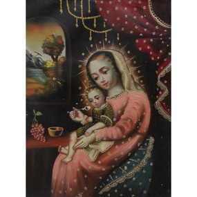 "Madonna feeding the Child Cuzco School Oil Painting On Canvas  16""x 12"""