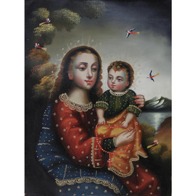 "Madonna & Child Cuzco School Oil Painting On Canvas  16""x 12"""