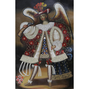 "Military Archangel Original Cuzco Oil Painting On Canvas  24""H x 16""W"
