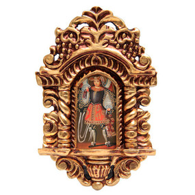 "Military Archangel Cuzco School Art Handcarved Gilt Retablo 11"" x 6.5"""