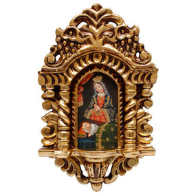 "Madonna & Child Cuzco School Art Handcarved Gilt Retablo 11"" x 6.5"""