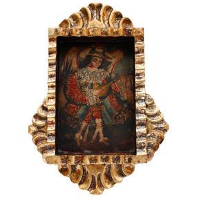 """Musician Archangel Cuzco Hand Carved Retablo 10""""H x 8""""W"""