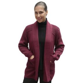 Women's Alpaca Wool Coat Sz XL Burgundy