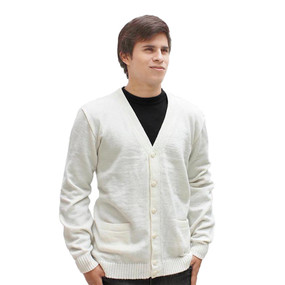 Men's Superfine Alpaca Wool Knitted V Neck Sweater Button Down ...