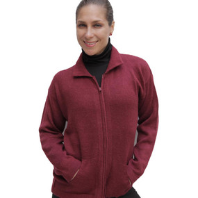 Womens Alpaca Wool Jacket Wine Burgundy SZ XL