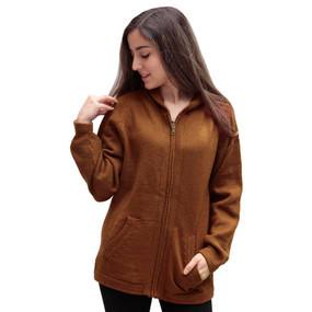 Hooded Alpaca Wool Jacket SZ XL Copper