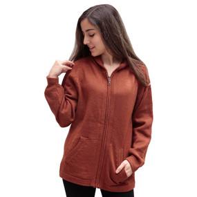 Hooded Alpaca Wool Jacket SZ XXL Copper