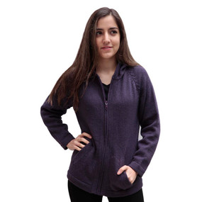 Hooded Alpaca Wool Jacket SZ L Purple