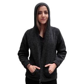 Hooded Alpaca Wool Jacket SZ M Charcoal Gray