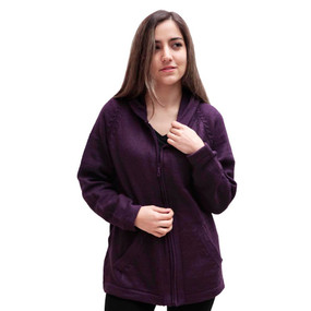 Hooded Alpaca Wool Jacket SZ XL Plum