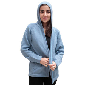 Hooded Alpaca Wool Jacket SZ L Light Blue
