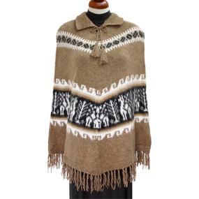 Ethnic Alpaca Wool Llamas Poncho One SZ