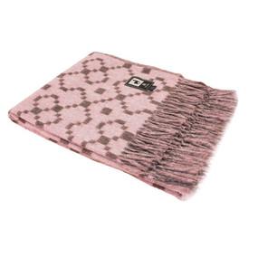 Fine Alpaca Blend Merino Wool Blanket Fringed Throw Rose & Soft Brown