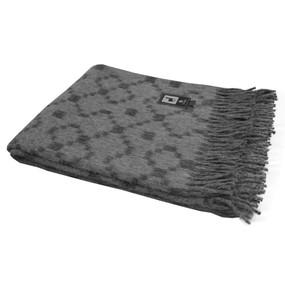 Fine Alpaca Blend Merino Wool Blanket Fringed Throw Gray & Charcoal