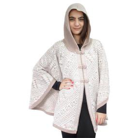 Hooded Alpaca Wool Womens Knit Cape One Size Beige & Ivory