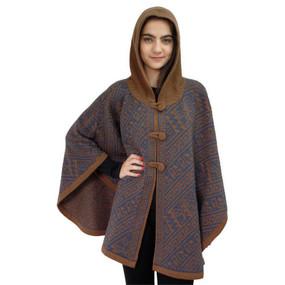Hooded Alpaca Wool Womens Knit Cape One Size Steel Blue & Camel