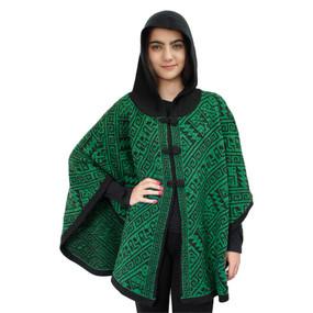 Hooded Alpaca Wool Womens Knit Cape One Size Black & Green