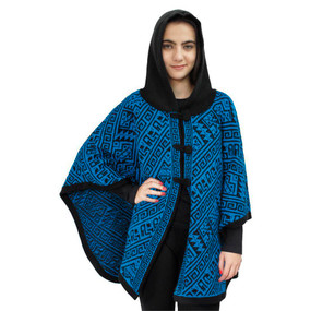Hooded Alpaca Wool Womens Knit Cape One Size Black & Turquoise