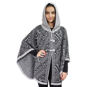 Hooded Alpaca Wool Womens Knit Cape One Size Silver Gray & Black