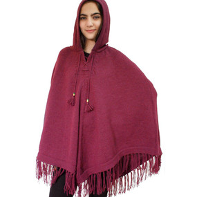 Hooded Alpaca Wool Womens Knit Long Poncho One Size Burgundy